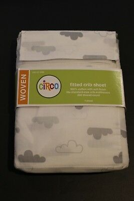 NEW Target Circo brand fitted crib sheet white with gray clouds 100% cotton