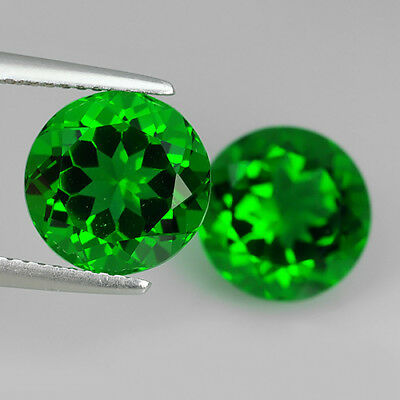 3.21 Ct Amazing AA Emerald Green Natural Moldavite Pair Round Cut Loose Gemstone