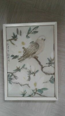 vintage print Chinese parrot and magnolia
