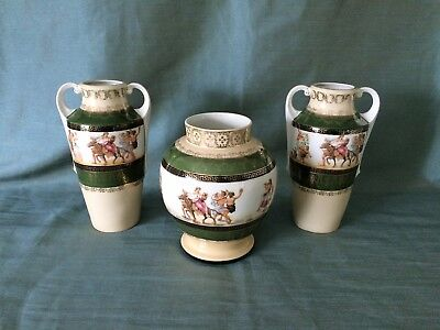 Vintage 1940's Hory Region European Vases with Gold Accents