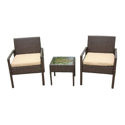 ALEKO Outdoor Rattan Patio Furniture 3 piece Set Brown with Seat Cushioned