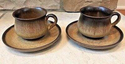 Denby England Romany Brown Set of 2 Tea Cups and Saucers Stoneware Mugs