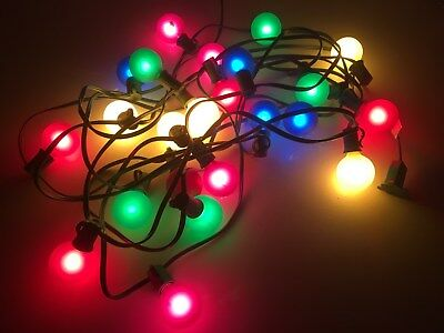 Vintage Christmas Holiday Party Lights 25 Large Round Bulbs - 2 Missing