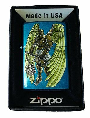Zippo Custom Lighter Angel Wings Warrior Flail Weapon Cerulean Blue Pocket New
