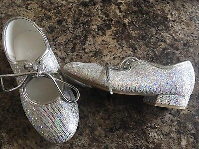 Brand New Girls Roch Valley Silver Sparkle Tap Dance Shoes Infant Size 9