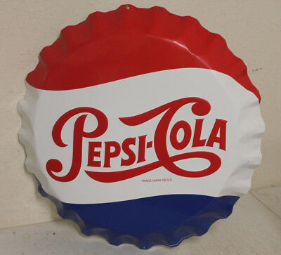 Vintage 27'' Pepsi Cola Bottle Cap Tin Sign By Stout