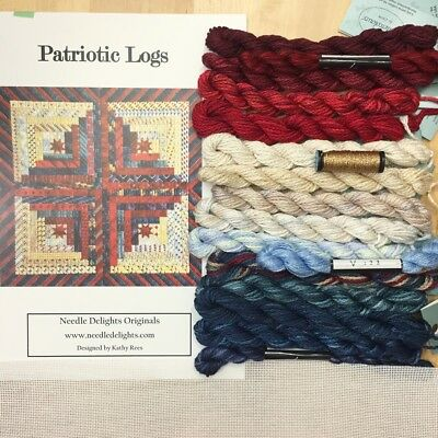 Counted Canvas needlepoint Kit Needle Delights Kathy Rees Patriotic Logs sampler