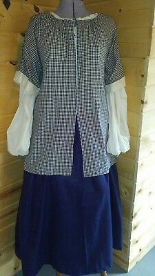 3 piece colonial 18th century rev war outfit cotton chemise petticoat bedgown