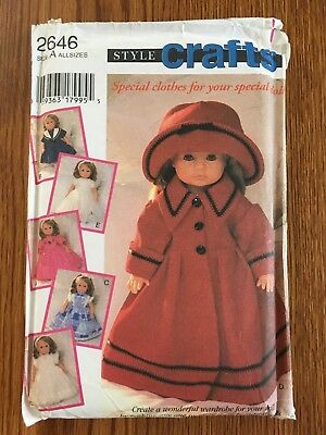 """Style Crafts Pattern #2646 to sew doll clothes for 12""""-22"""" dolls 1995"""