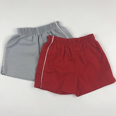 Vintage 80s Healthtex Shorts Lot of 2 Red Gray Unisex Toddler 2T