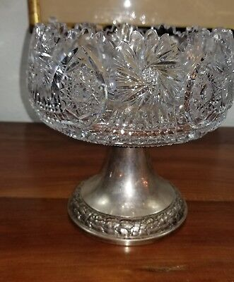 Franz Bibus Sterling Silver Compote with Hand Cut Crystal Czechoslovakia, 1930