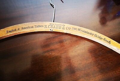 Antique/ Vintage wooden advertising Coathanger  R. CRABB & CO WESTMINSTER TAILOR