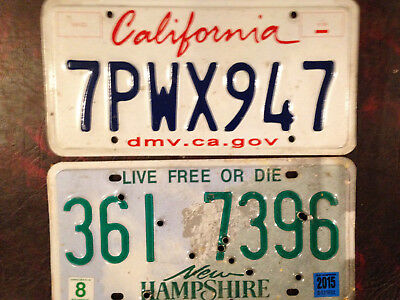 New Hampshire California License Plate Lot Lipstick Old Man On The Mountain