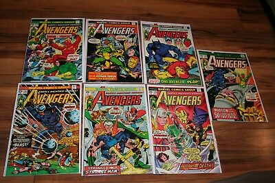AVENGERS #134-140 1975 9.2/9.4 White Pages