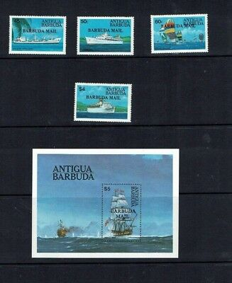 Antigua/ Barbuda: 1984, Barbuda Mail, Ships, MNH set + M/S