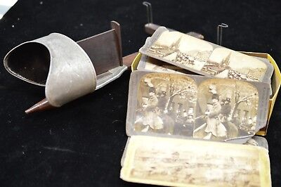 Antique Wooden Stereoscope Photo Viewer W/ 24 Photo Cards 1896-1909