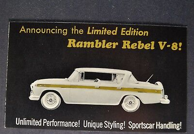 1957 Rambler Rebel Postcard Brochure Nash AMC Excellent Original 57