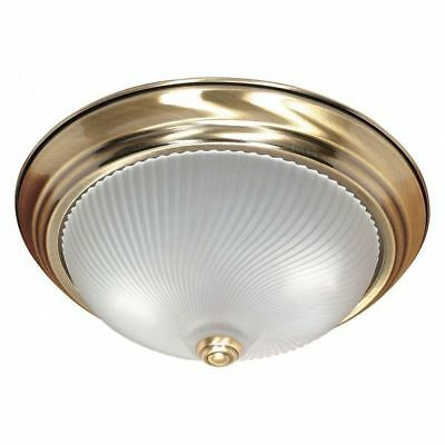 2 Light 13 in. Flush Mount Frosted Swirl Glass Brass NUVO 60-238