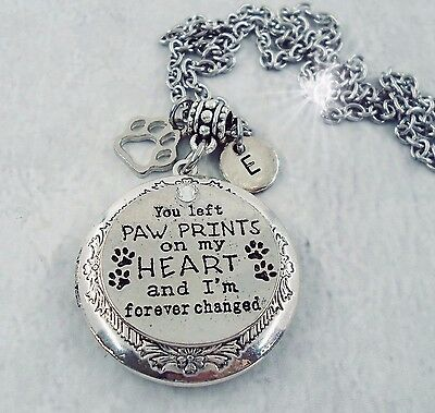 You Left Paw Prints on My Heart Pet Memorial Locket with Your Photo, Cat, Dog