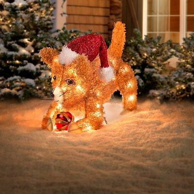 Outdoor Lighted 20 Playful Cat Kitten Sculpture Christmas Holiday Yard Decor