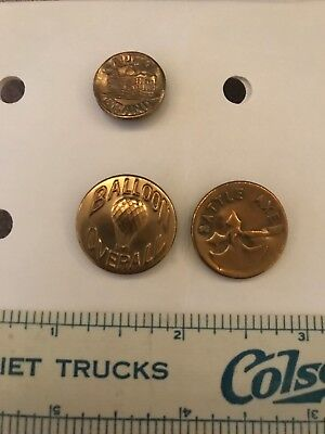 3 Pictorial Overalls Work Clothes Buttons- Balloon, Battle Axe, Capitol- Lot 30