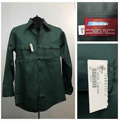 Vintage NOS 1970s 1980s Dickies Green Open Collar Button Down Work Shirt Cholo S