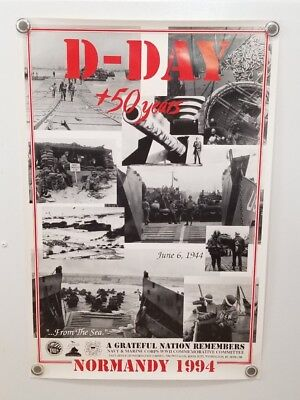 Vintage D-Day 50 Year Anniversary Poster War WW2 Normandy Navy Army Marines 1994