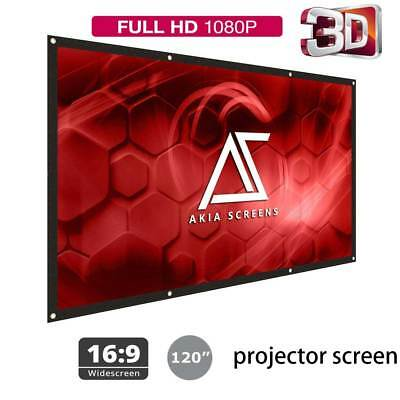 120inch Portable Foldable Projector Screen 16:9 HD Home Theater Outdoor 3D Movie