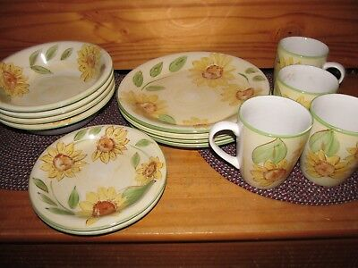 Pottery / China Dishes, Hand Painted, Vintage Gibson Sunflower Design 14pcs