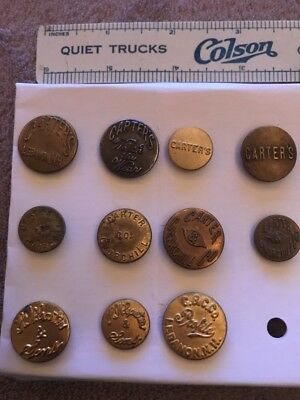 11 Different  Carter's, Carter & Churchill Overalls Work Clothes Buttons- Lot 34