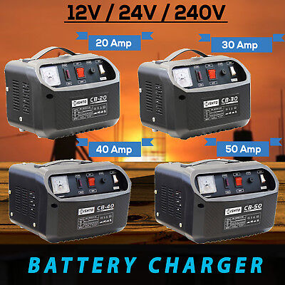20A 30A 40A 50A Battery Charger 12-24V/240V ATV Car Boat 4WD Caravan Motorcycle