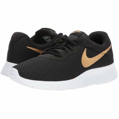 authentic 100% quality autumn shoes NIKE TANJUN BLACK Gold Running Shoes Women And Big Kids ...