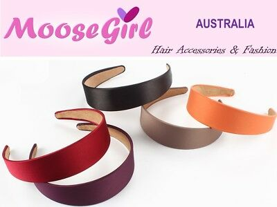 4cm Wide Satin Headband Plain Colours Sold Hair Band Ladies Women Alice Band