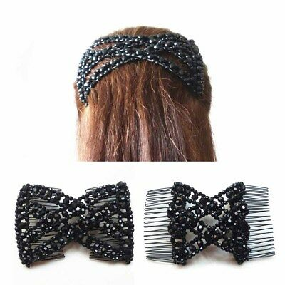 Women Girl Easy Hair Clip Comb Stretchy Bead Double Hair Acc Butterfly Bowknot