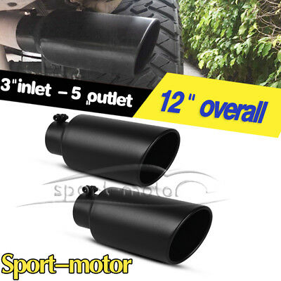"""Pair 3"""" Inlet 5"""" Outlet 12"""" Long Car Angled Rolled Exhaust Tips Tailpipe Black"""