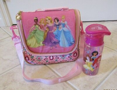 Disney Store Princess Lunch Box Bag and Bottle Pink Insulated Lunch Tote