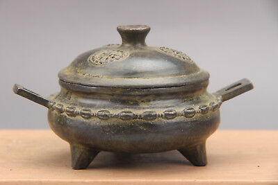 Collection ancient Chinese bronze carving Incense burner xuande mark  as762d