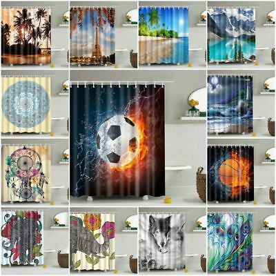 Bathroom Shower Curtain 12pcs Hooks Animal Print Landscape Landscape Bathroom AU