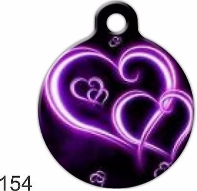 Pet Tags Personalized Pet ID tag for Dog and Cat ROUND Tags Charm Neon Hearts