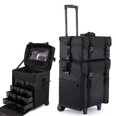 Makeup Case Cosmetic Organizer Rolling Luggage Train Box Trolley Bag Mult 2 in 1