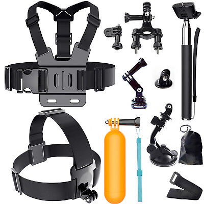 Head Chest Mount Monopod Floating Accessories Kit For GoPro Hero 2 3+4 56 Camera