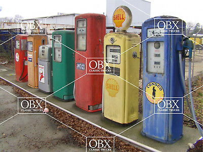 """""""PAST GAS"""" an 8x10 photo of a colorful line up of vintage brand gas pumps! WHOA!"""