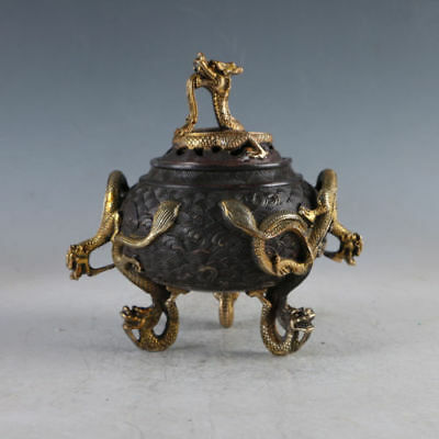 Chinese Gilt Copper Dragon Incense Burner Made During Daming Xuande