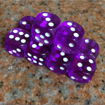 10Pcs Acrylic Six Sided Transparent D6 16mm Dice Set For RPG Role Playing Games