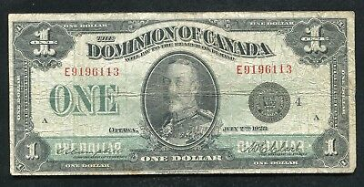 """DC-25o 1923 $1 ONE DOLLAR DOMINION OF CANADA BANKNOTE """"BLACK SEAL"""""""