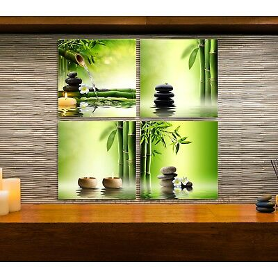 4pcs Framed Canvas Bamboo Green Nature Zen SPA Oil Stone massage shop Wall Decor