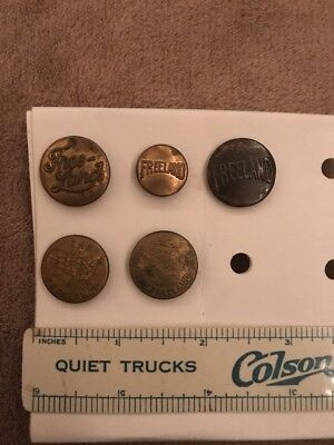5 Different Freeland Overalls Work Clothes Buttons- 2 Pictorial With Map- Lot 46