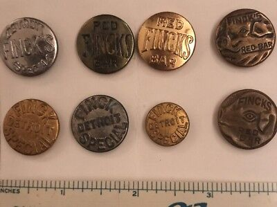 8 Different Finck's Detroit Overalls Work Clothes Buttons 2 With Pig- Lot 41