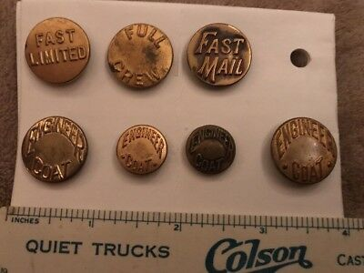7 Railroad Train Theme Overalls Work Clothes Buttons Fast Mail, Full Crew Lot 40