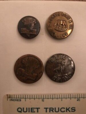4 Animal Pictorial Overalls Work Clothes Buttons- Buffalo, Elk, Bear- Lot 39